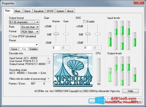 スクリーンショット AC3Filter Windows 8.1版