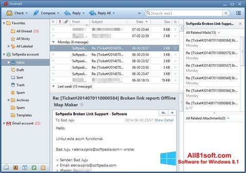 スクリーンショット FoxMail Windows 8.1版
