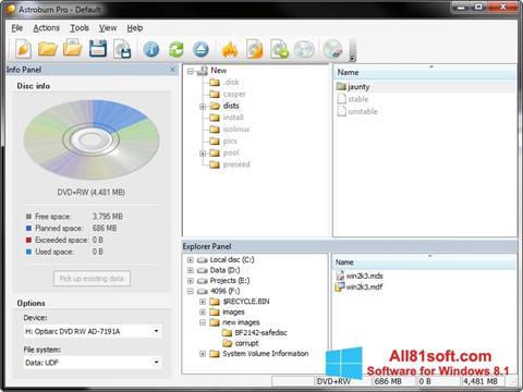 スクリーンショット Astroburn Lite Windows 8.1版