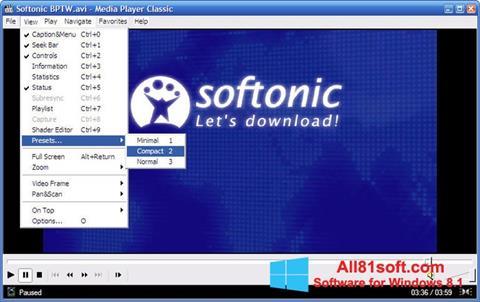 スクリーンショット Media Player Classic Windows 8.1版