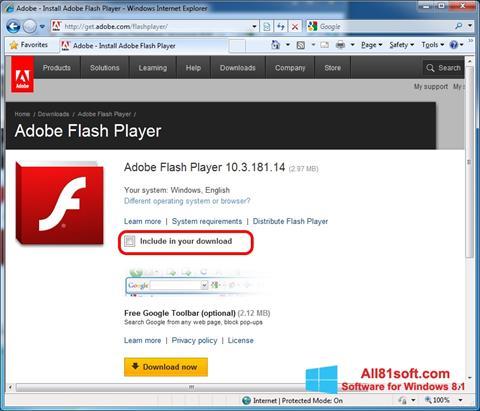 スクリーンショット Adobe Flash Player Windows 8.1版