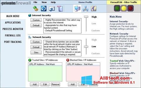スクリーンショット Privatefirewall Windows 8.1版