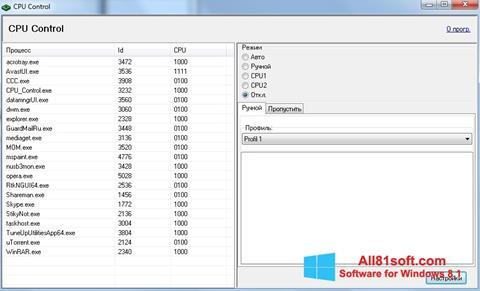 スクリーンショット CPU-Control Windows 8.1版