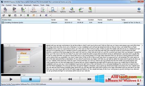 スクリーンショット Express Scribe Windows 8.1版