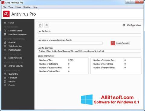 スクリーンショット Avira Antivirus Pro Windows 8.1版