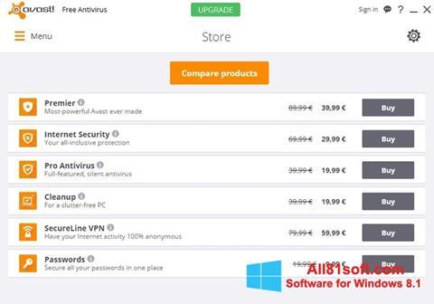 スクリーンショット Avast Free Antivirus Windows 8.1版