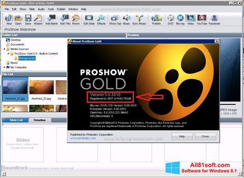 スクリーンショット ProShow Gold Windows 8.1版