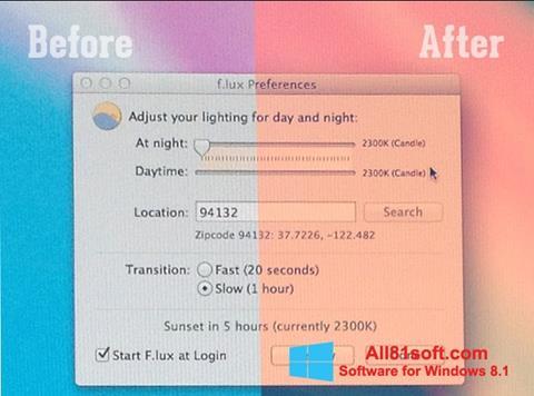 スクリーンショット F.lux Windows 8.1版