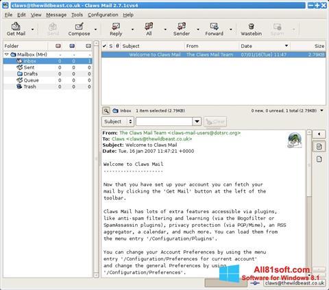 スクリーンショット Claws Mail Windows 8.1版