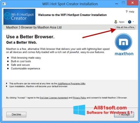 スクリーンショット Wi-Fi HotSpot Creator Windows 8.1版
