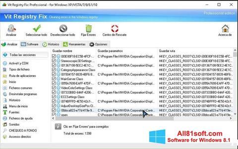 スクリーンショット Vit Registry Fix Windows 8.1版