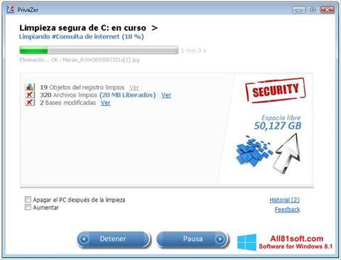 スクリーンショット PrivaZer Windows 8.1版