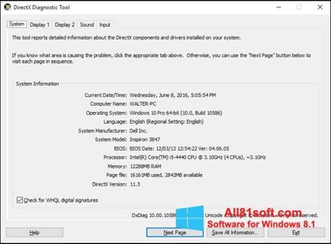 スクリーンショット DirectX Windows 8.1版