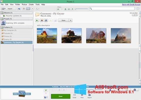 スクリーンショット Picasa Windows 8.1版