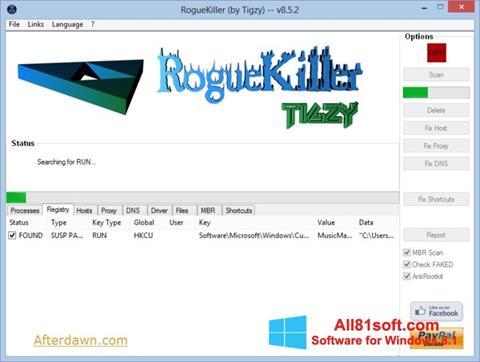 スクリーンショット RogueKiller Windows 8.1版