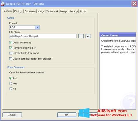 スクリーンショット BullZip PDF Printer Windows 8.1版