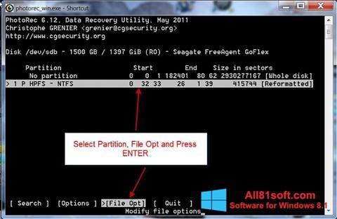 スクリーンショット PhotoRec Windows 8.1版