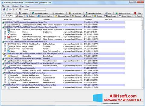 スクリーンショット AutoRuns Windows 8.1版