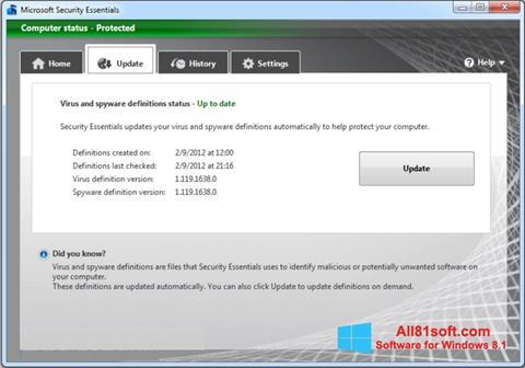 スクリーンショット Microsoft Security Essentials Windows 8.1版