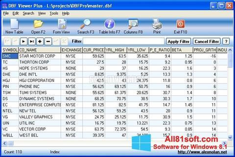 スクリーンショット DBF Viewer Windows 8.1版