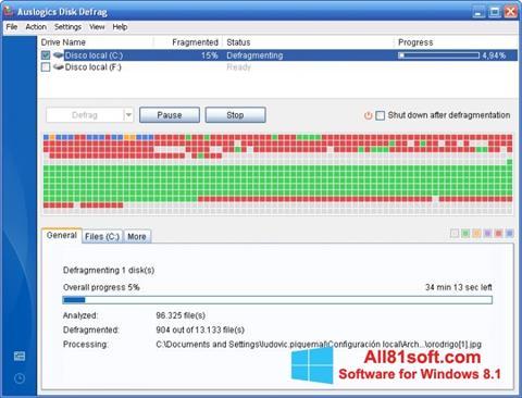 スクリーンショット Auslogics Disk Defrag Windows 8.1版