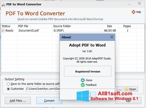 スクリーンショット PDF to Word Converter Windows 8.1版