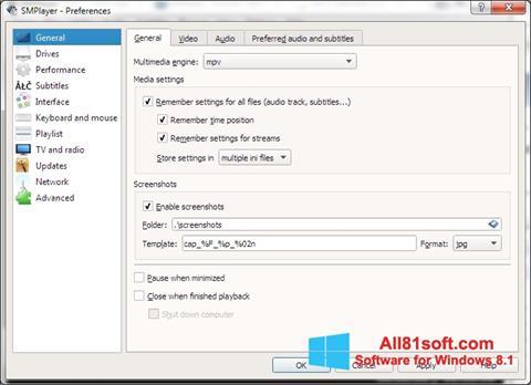 スクリーンショット SMPlayer Windows 8.1版