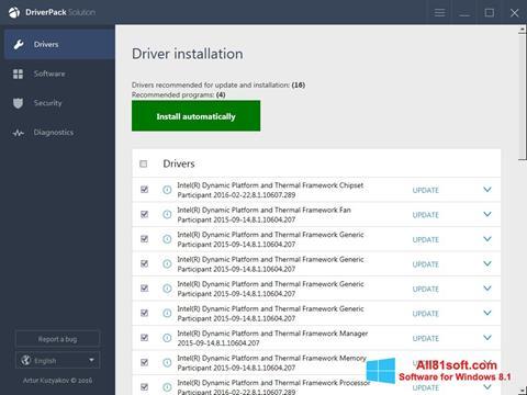 スクリーンショット DriverPack Solution Online Windows 8.1版