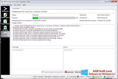 スクリーンショット MKVToolnix Windows 8.1版