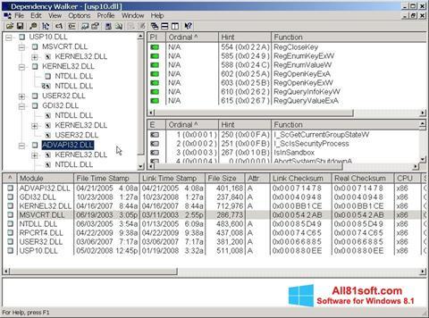スクリーンショット Dependency Walker Windows 8.1版