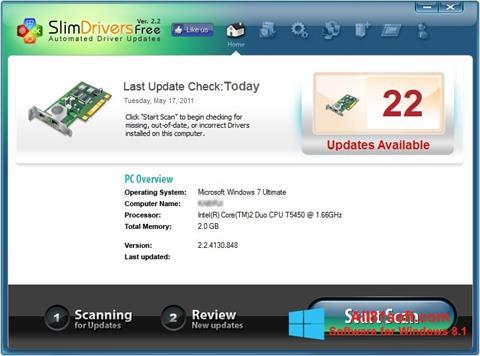 スクリーンショット SlimDrivers Windows 8.1版