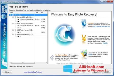 スクリーンショット Easy Photo Recovery Windows 8.1版