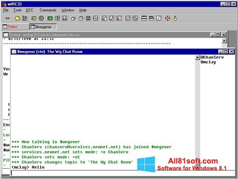 スクリーンショット mIRC Windows 8.1版