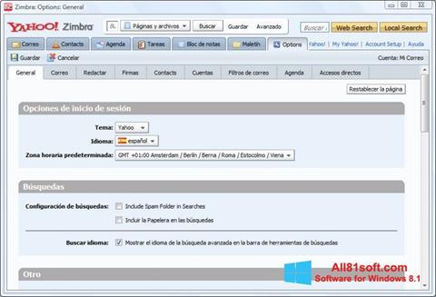スクリーンショット Zimbra Desktop Windows 8.1版