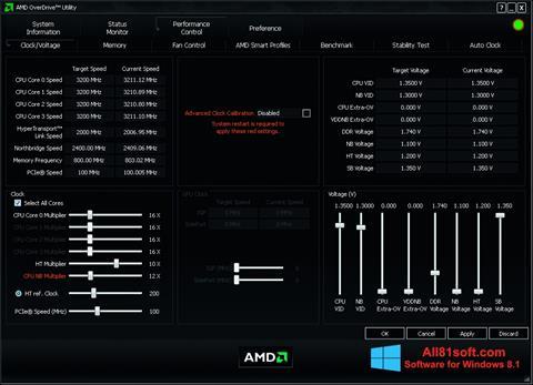 スクリーンショット AMD Overdrive Windows 8.1版